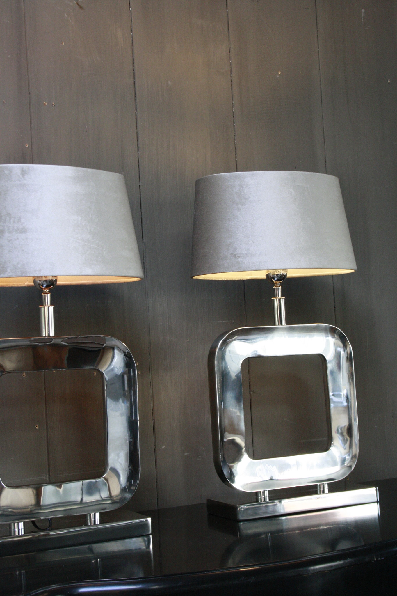 Tafellamp Moderno Zilver + Velours kap Eric Kuster-4