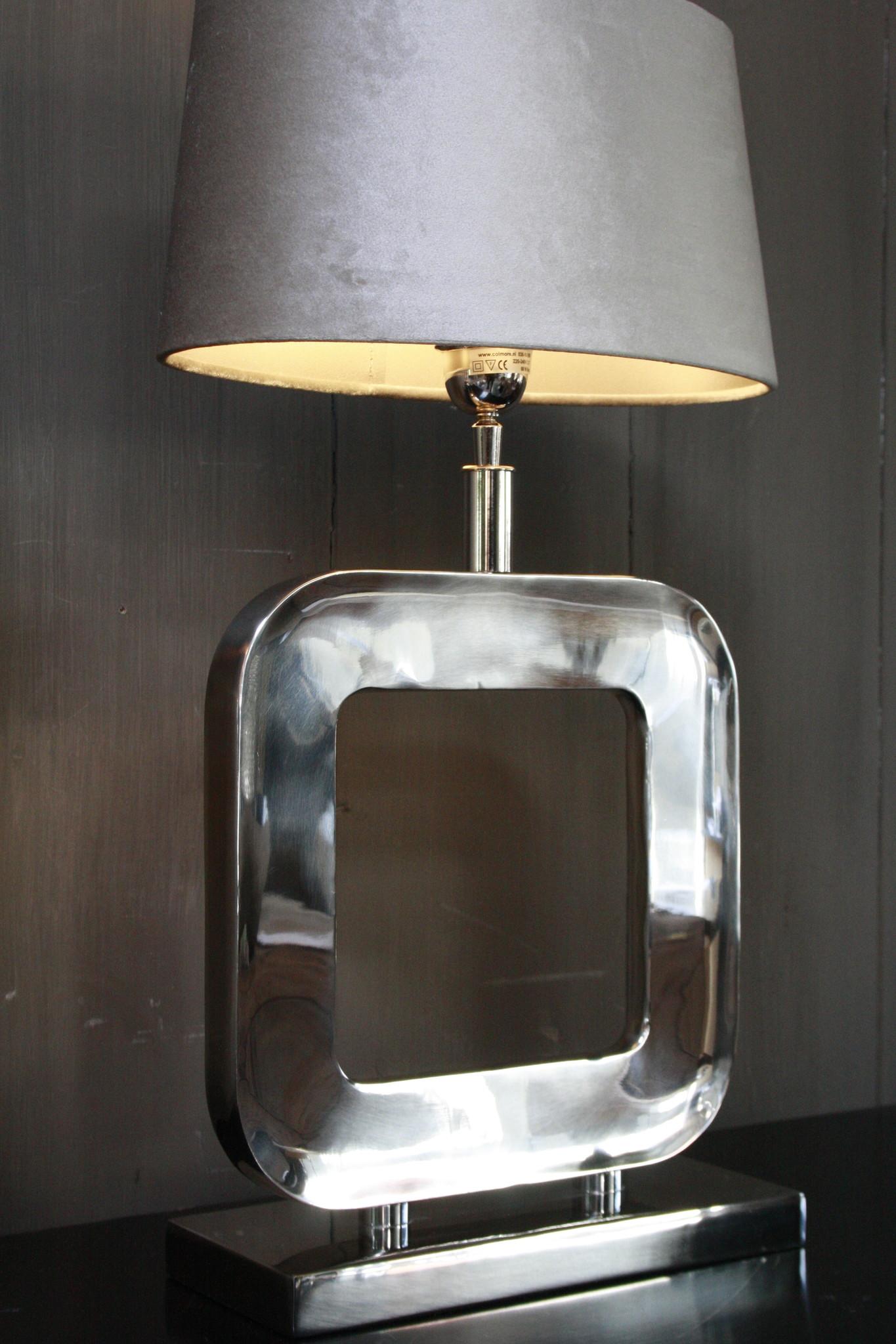 Tafellamp Moderno Zilver + Velours kap Eric Kuster-5