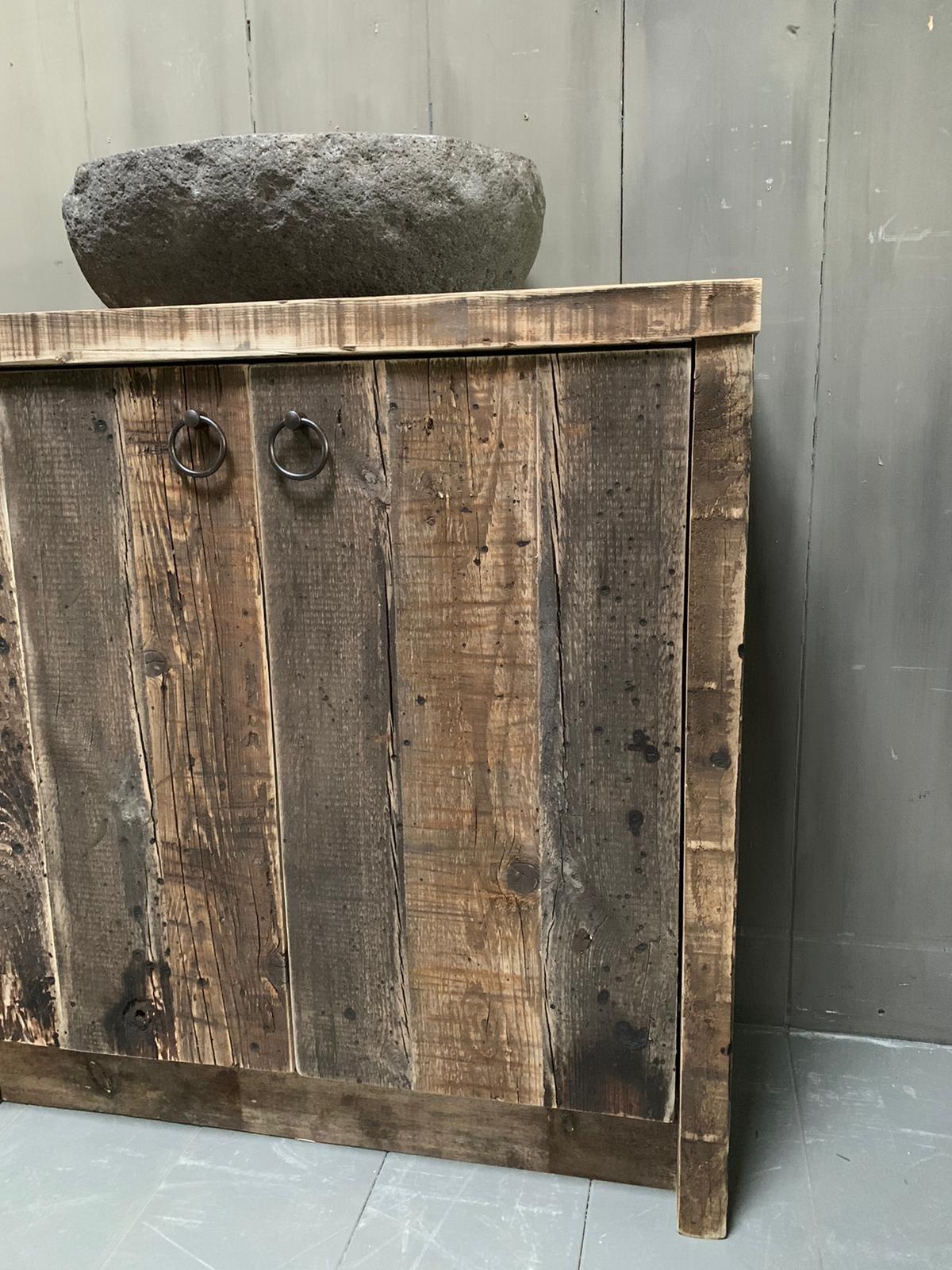 Oud houten badkamermeubel Kelsey 90 cm-7