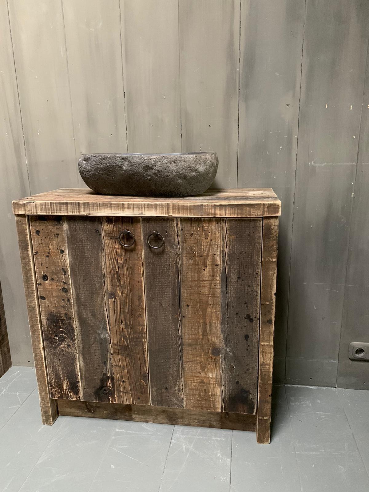 Oud houten badkamermeubel Kelsey 90 cm-2