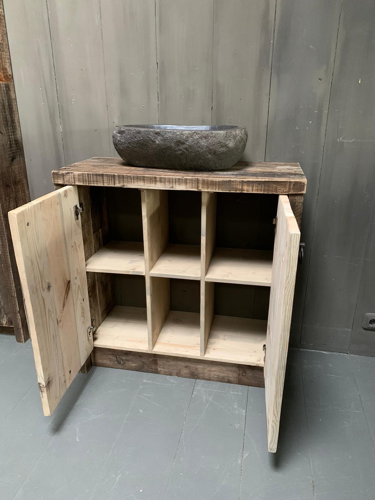 Oud houten badkamermeubel Kelsey 90 cm-3