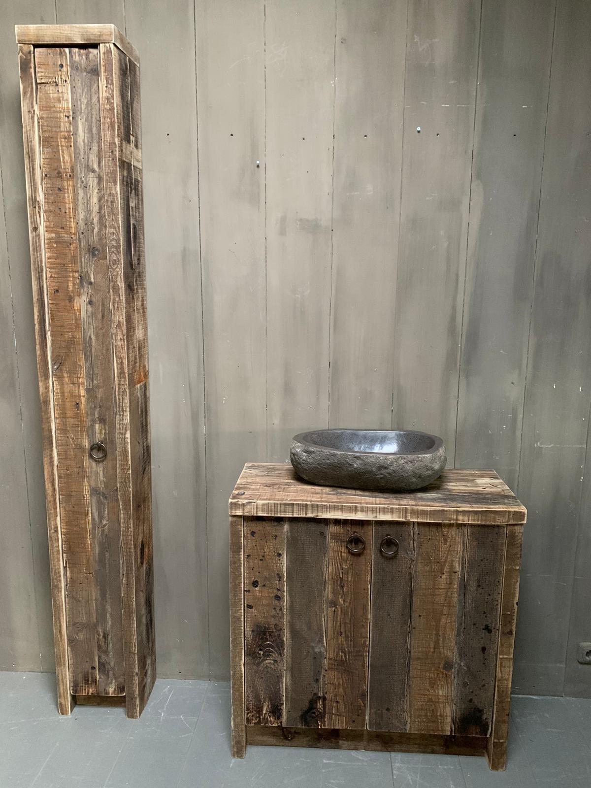Oud houten badkamermeubel Kelsey 90 cm-1