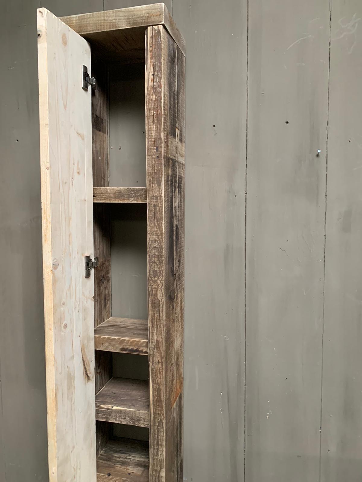 Massief oud houten badkamerkast/handdoekenkast-4