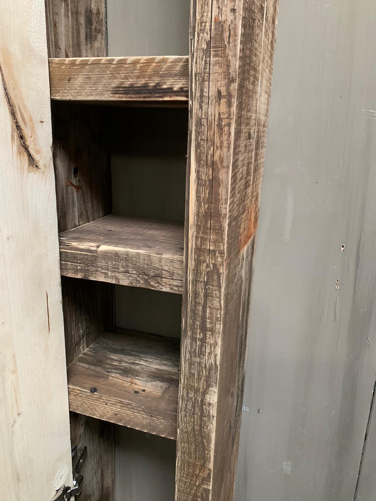 Massief oud houten badkamerkast/handdoekenkast-5