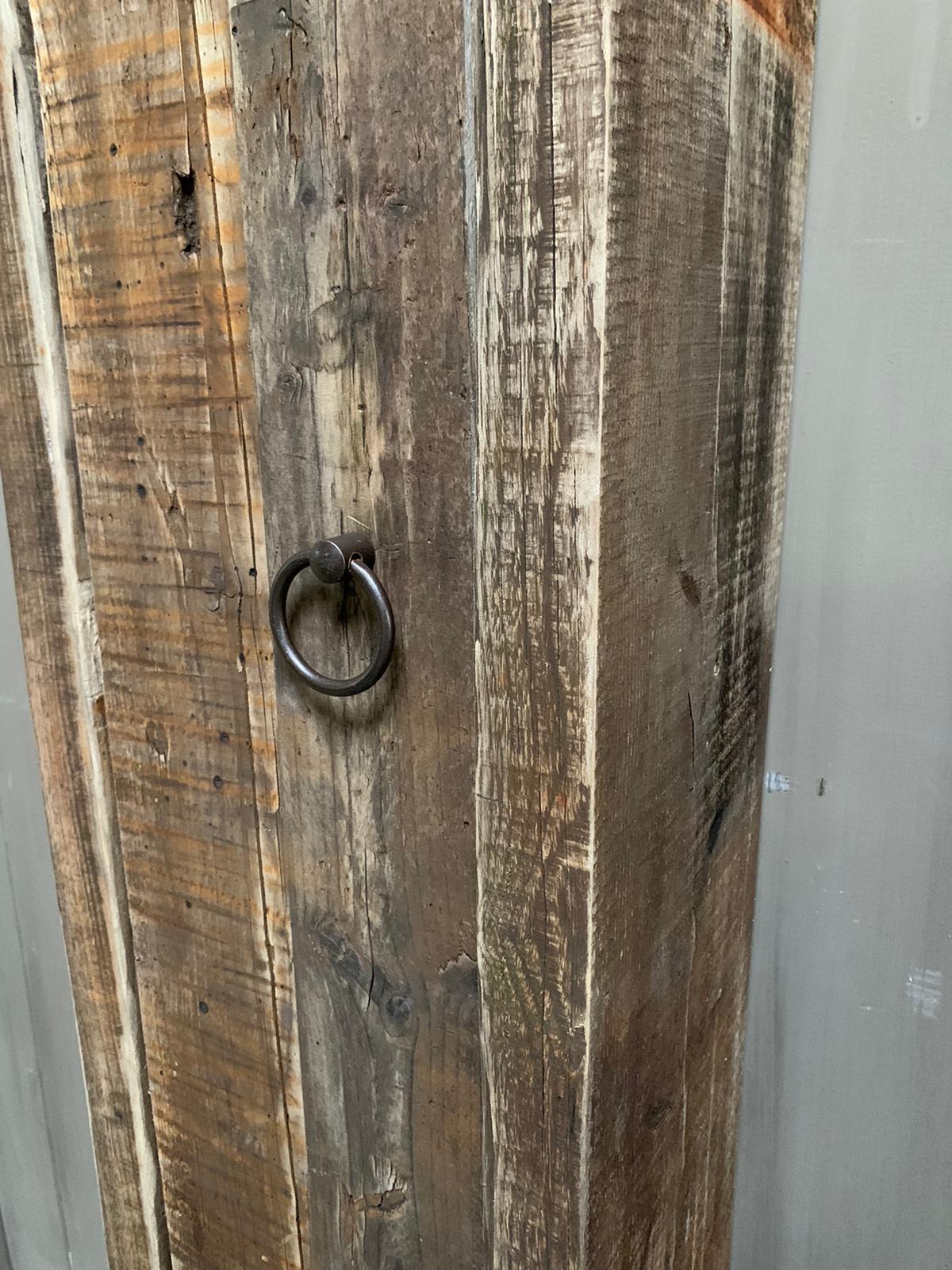 Massief oud houten badkamerkast/handdoekenkast-6