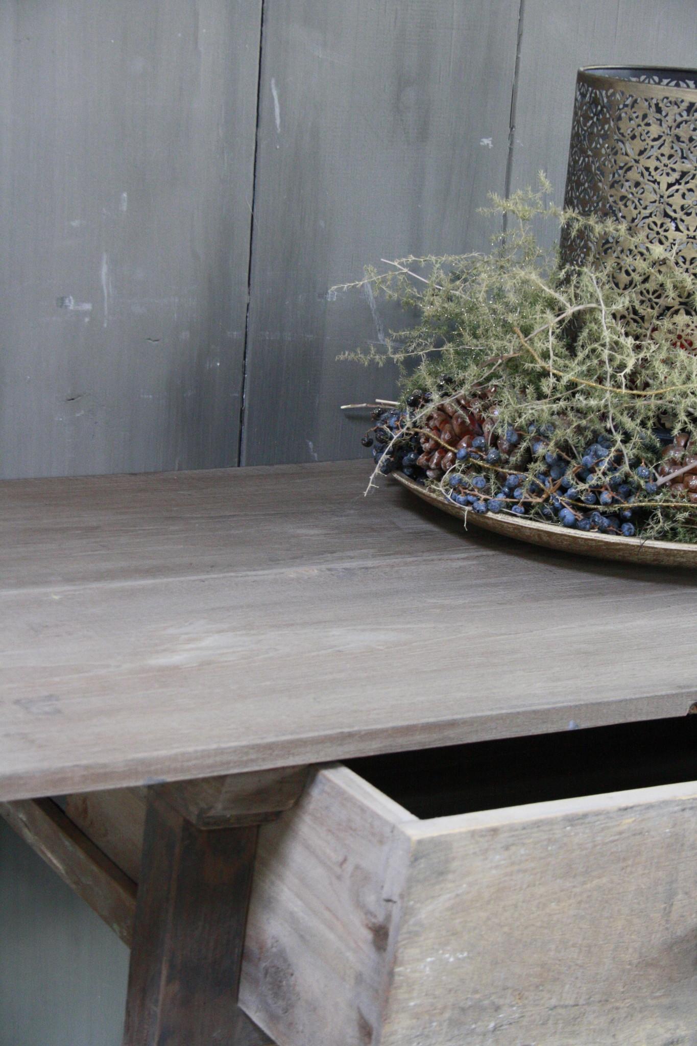 Oud authentiek houten tafeltje met lade H76 x B90,5-5