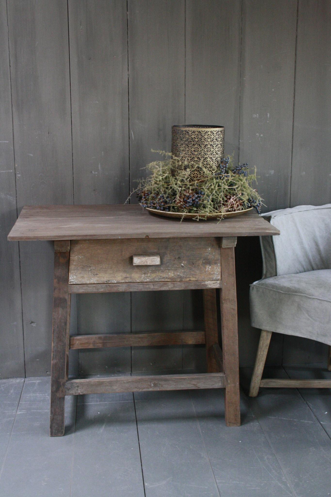 Oud authentiek houten tafeltje met lade H76 x B90,5-3