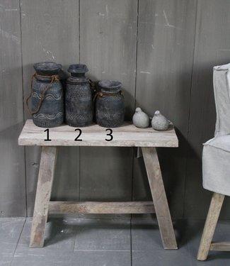 Aura Peeperkorn Handgemaakte hout gesneden pot S/M/L