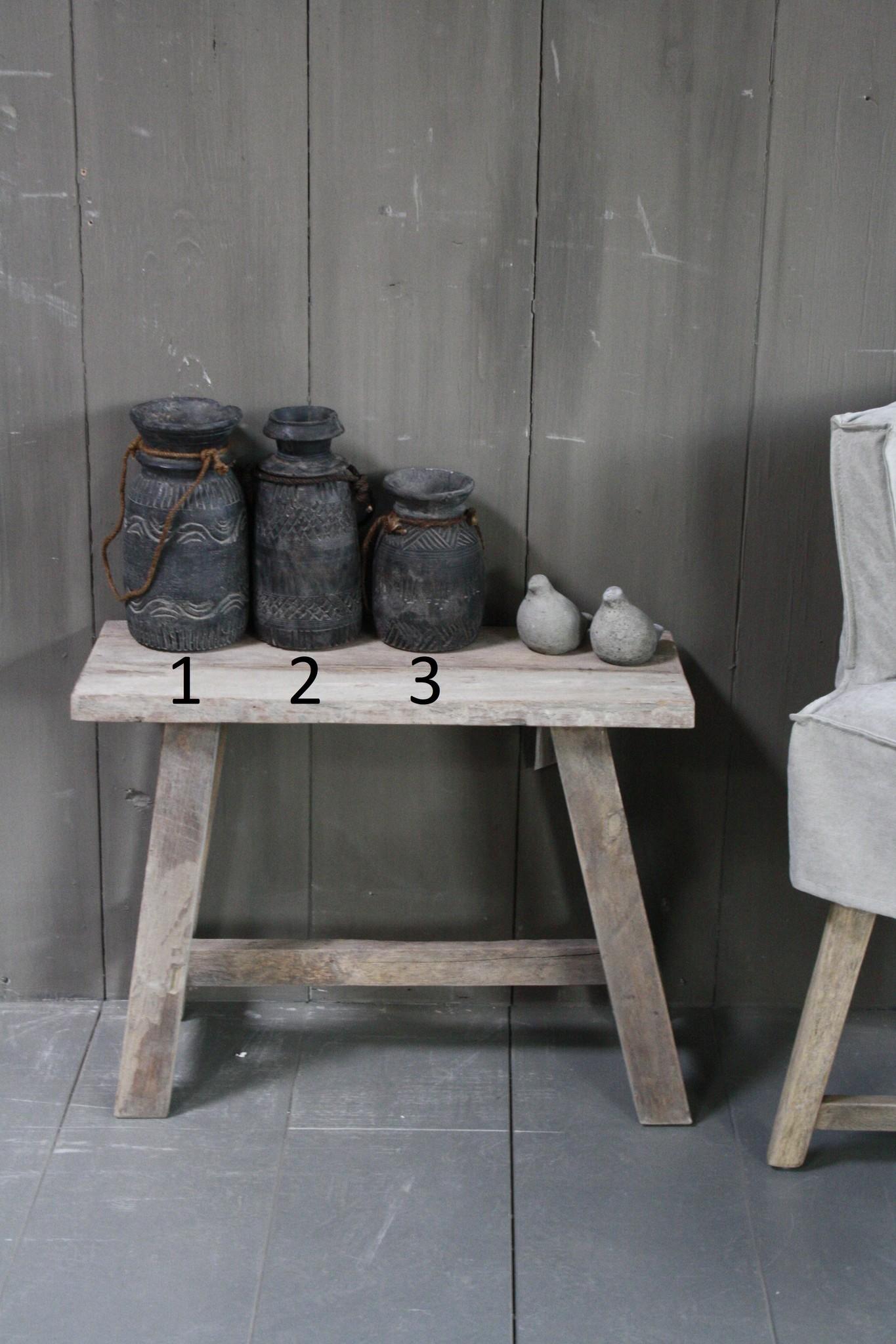 Handgemaakte hout gesneden pot S/M/L-1