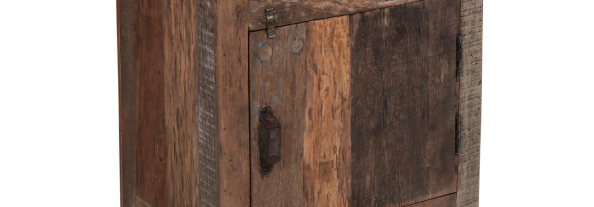 Houten nachtkastje 1 deur/1 lade 50x35x70 cm