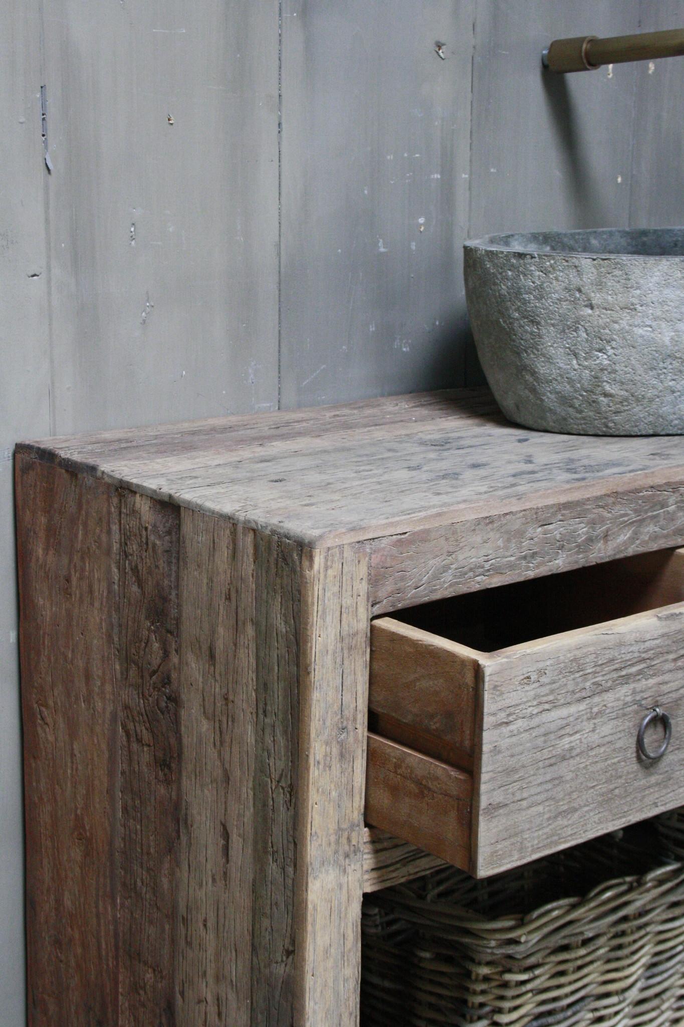 Landelijk badkamermeubel met lades en planken 120 cm-9