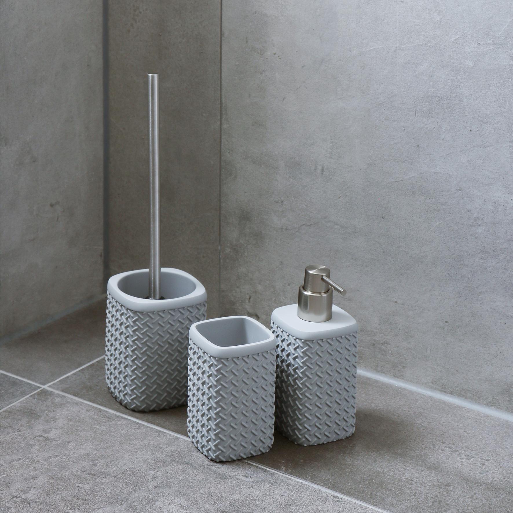 Accessoires Set Toilet Badkamer Grijs Wafel-2