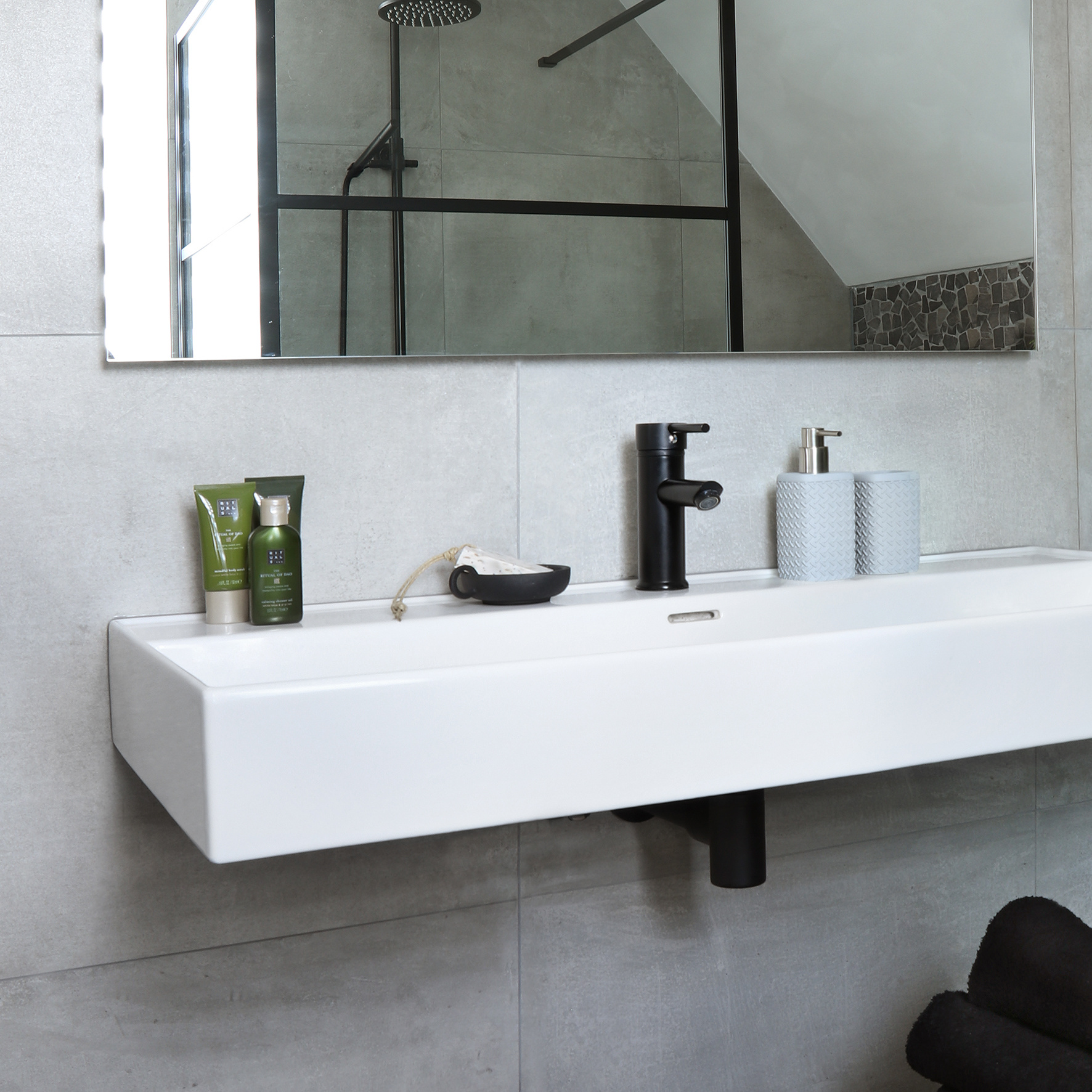 Accessoires Set Toilet Badkamer Grijs Wafel-3