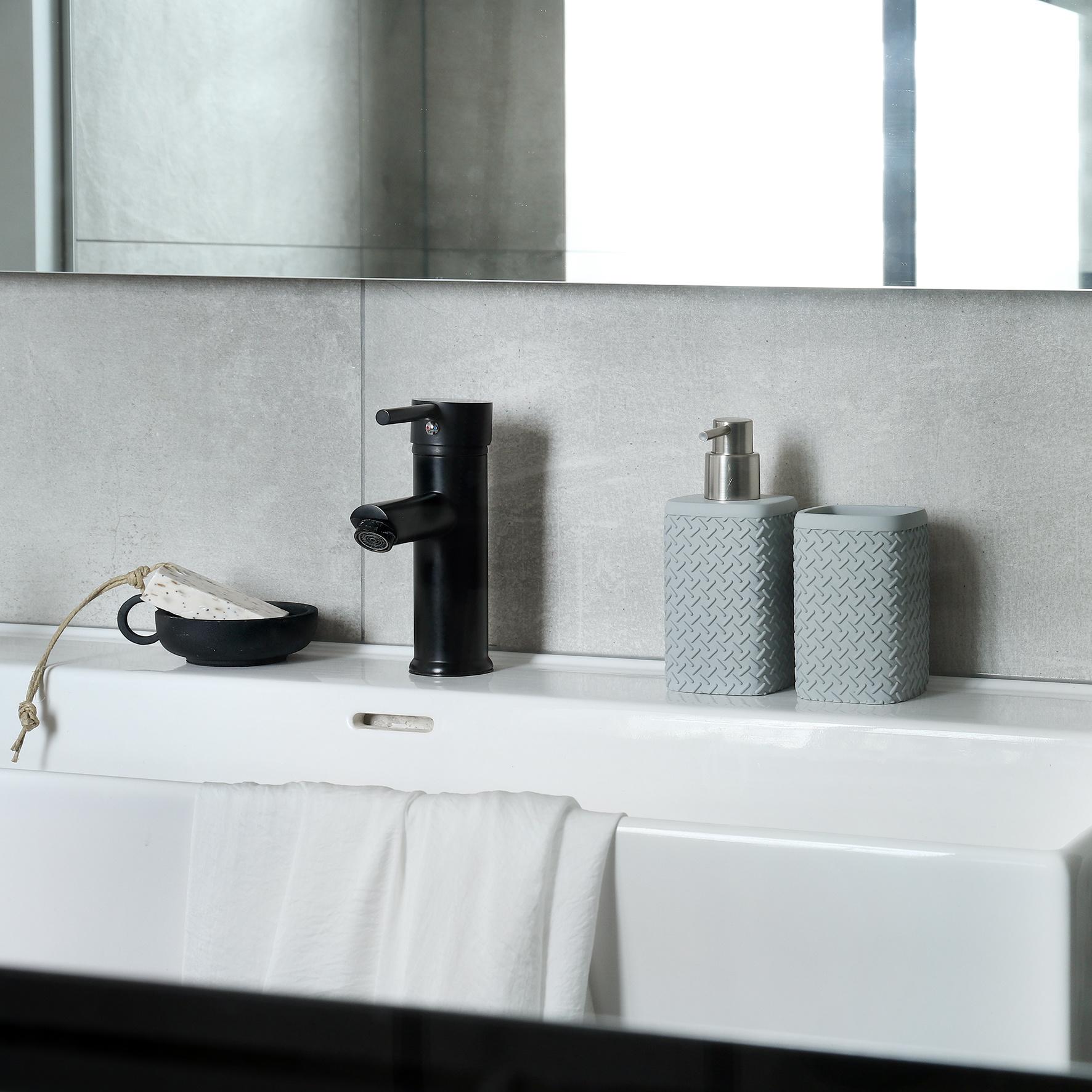 Accessoires Set Toilet Badkamer Grijs Wafel-4