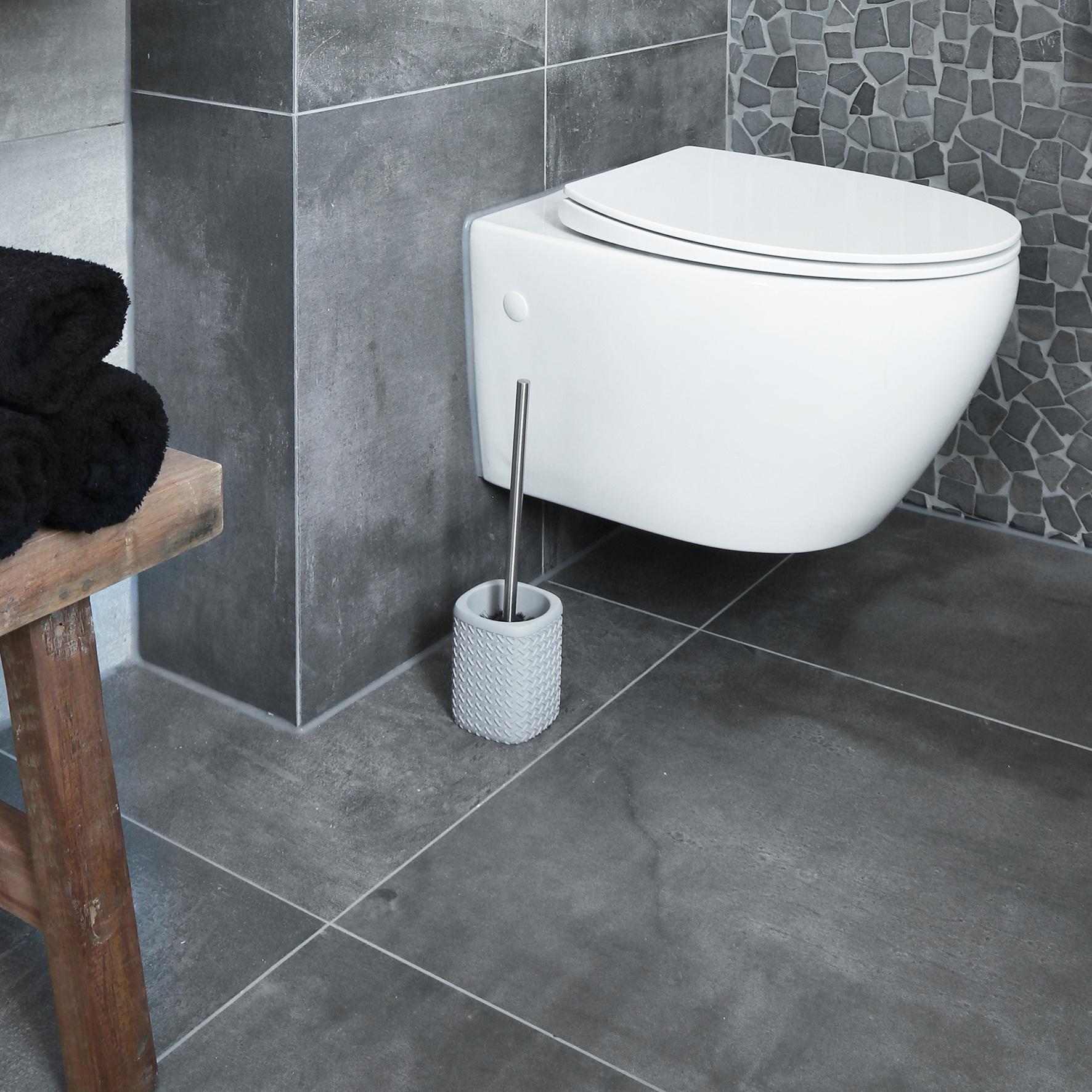 Accessoires Set Toilet Badkamer Grijs Wafel-7