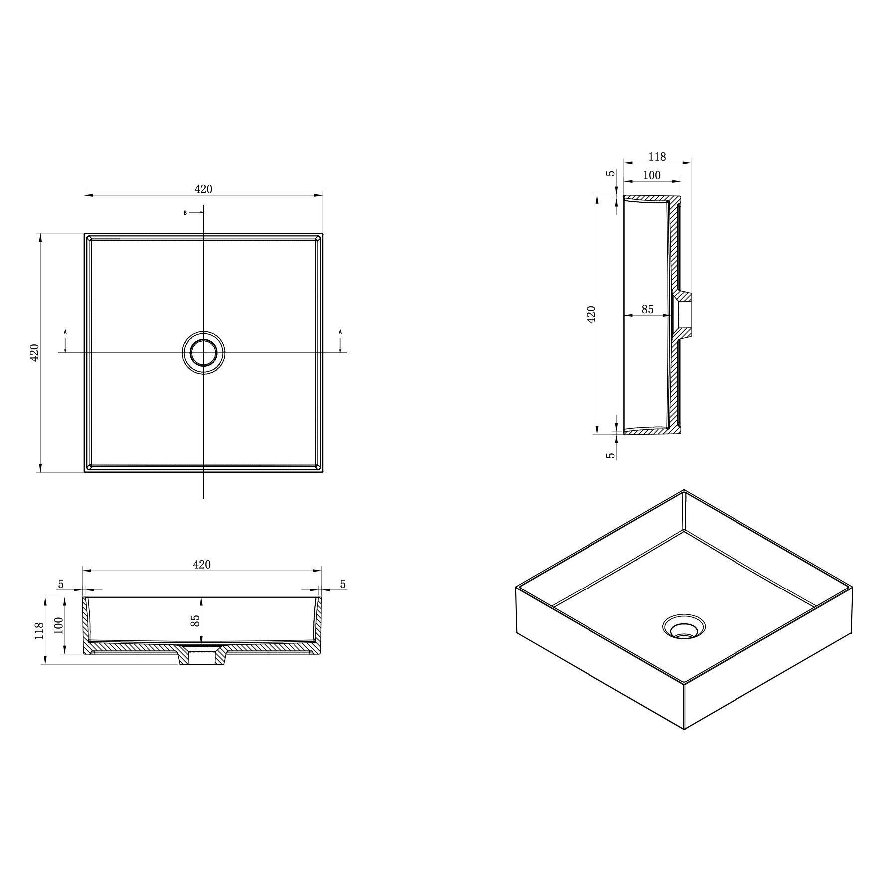 Waskom Polybeton 42x42x10 cm Vierkant-2