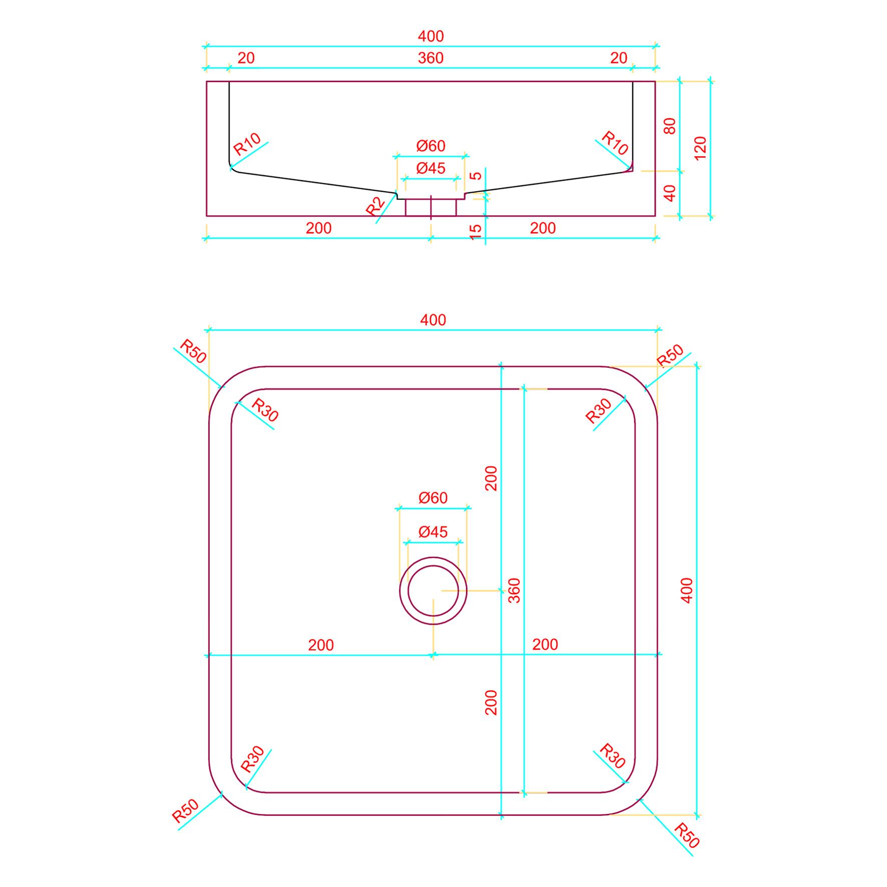 Wastafel Beton Lichtgrijs Vierkant 40x40x12 cm-3