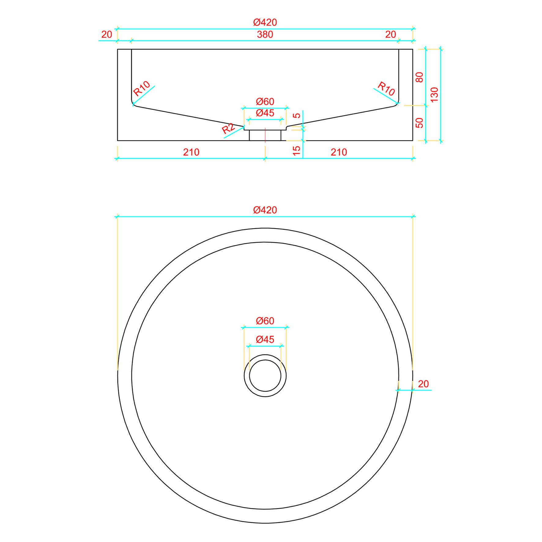 Wastafel Beton Lichtgrijs Rond 42x42x13 cm-2