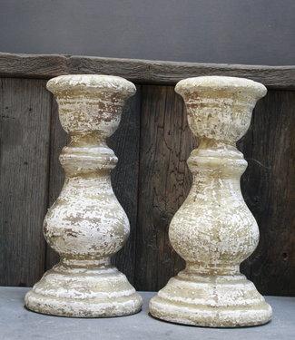 PTMD Stenen Kaarshouders 32 cm set van 2