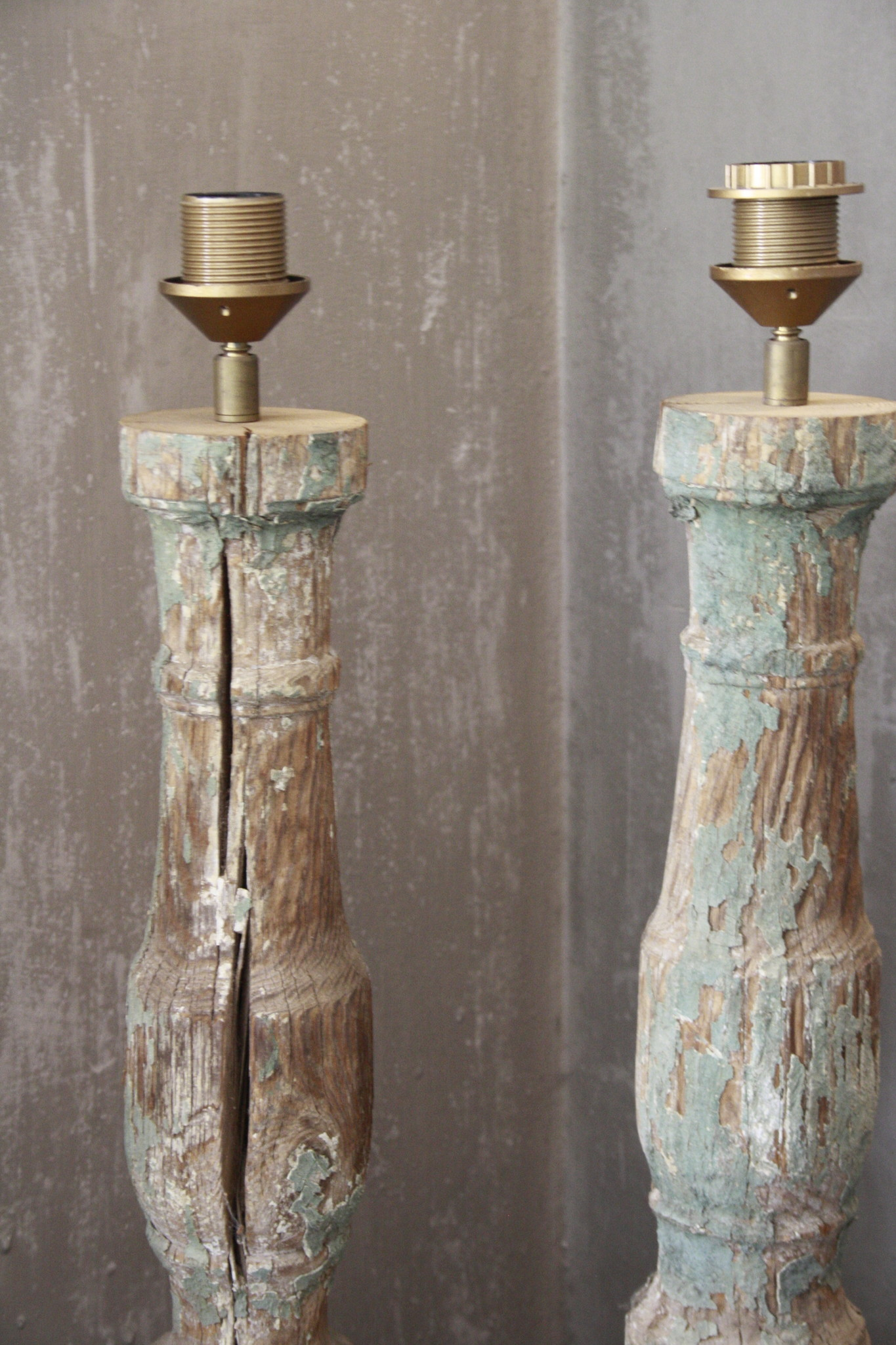 SET 2x Balusterlamp Oud Hout Groen tint 60 cm-3