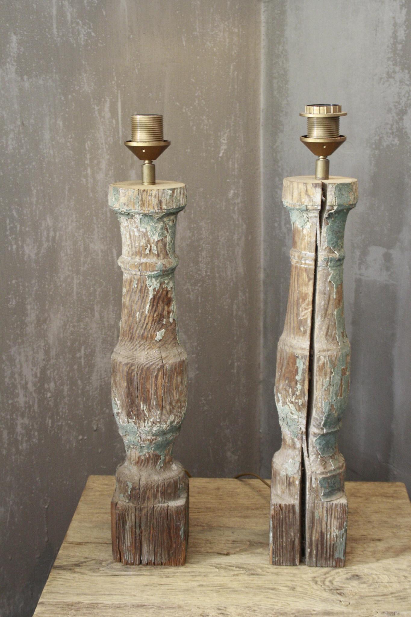 SET 2x Balusterlamp Oud Hout Groen tint 60 cm-4