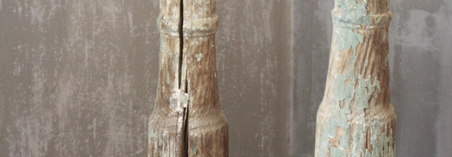 SET 2x Balusterlamp Oud Hout Groen tint 60 cm
