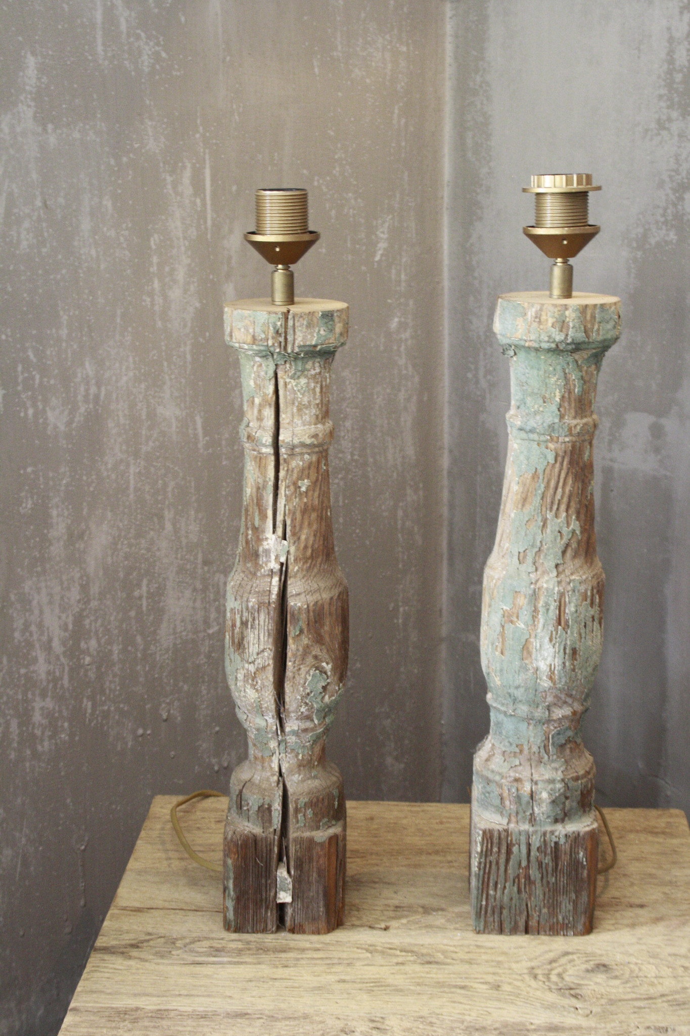 SET 2x Balusterlamp Oud Hout Groen tint 60 cm-1