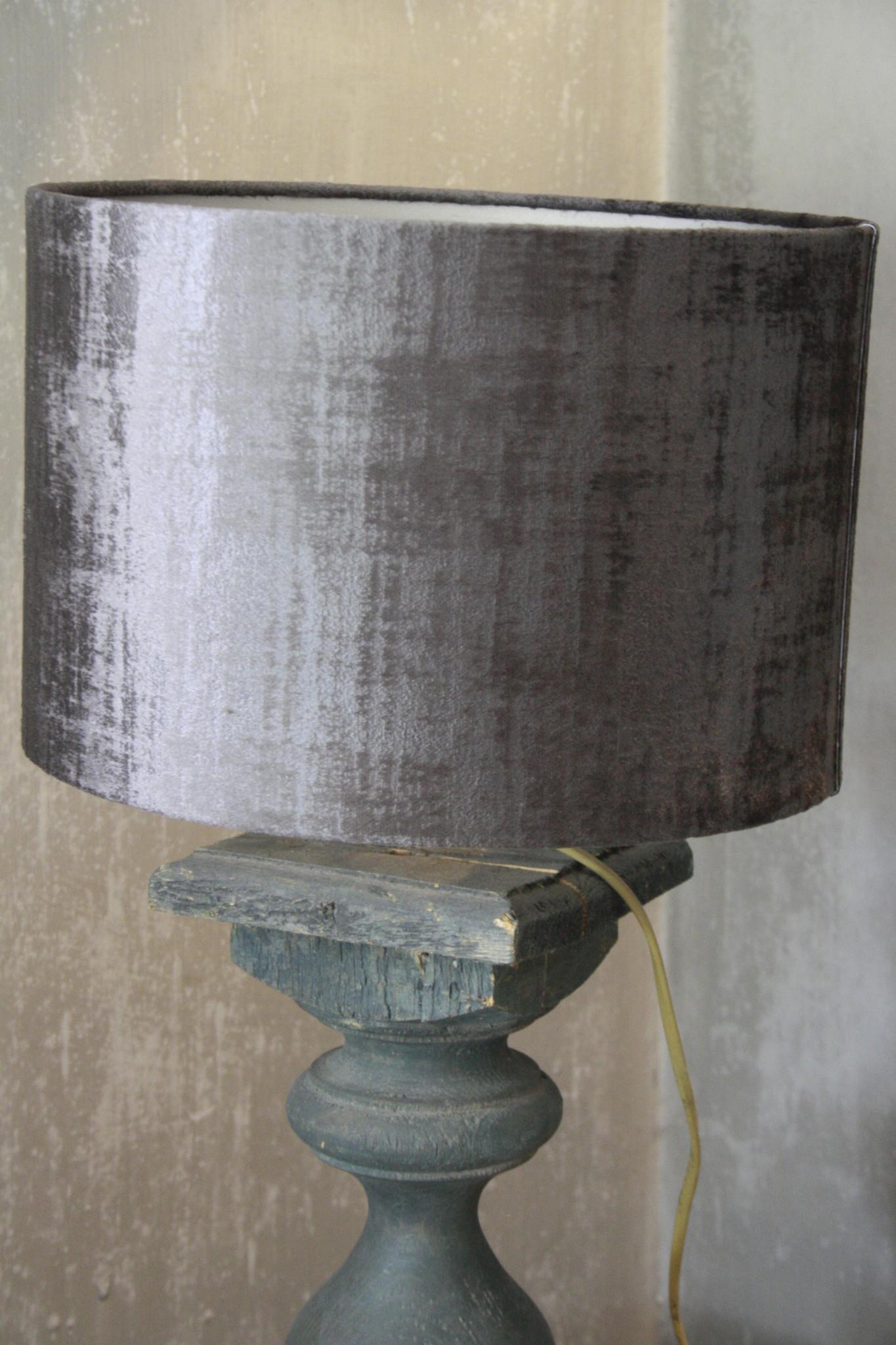 Balusterlamp Oud Hout Groen + kap 60 cm-2