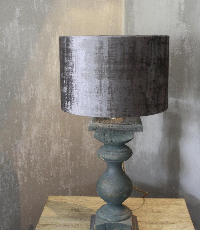 Balusterlamp Oud Hout Groen + kap 60 cm