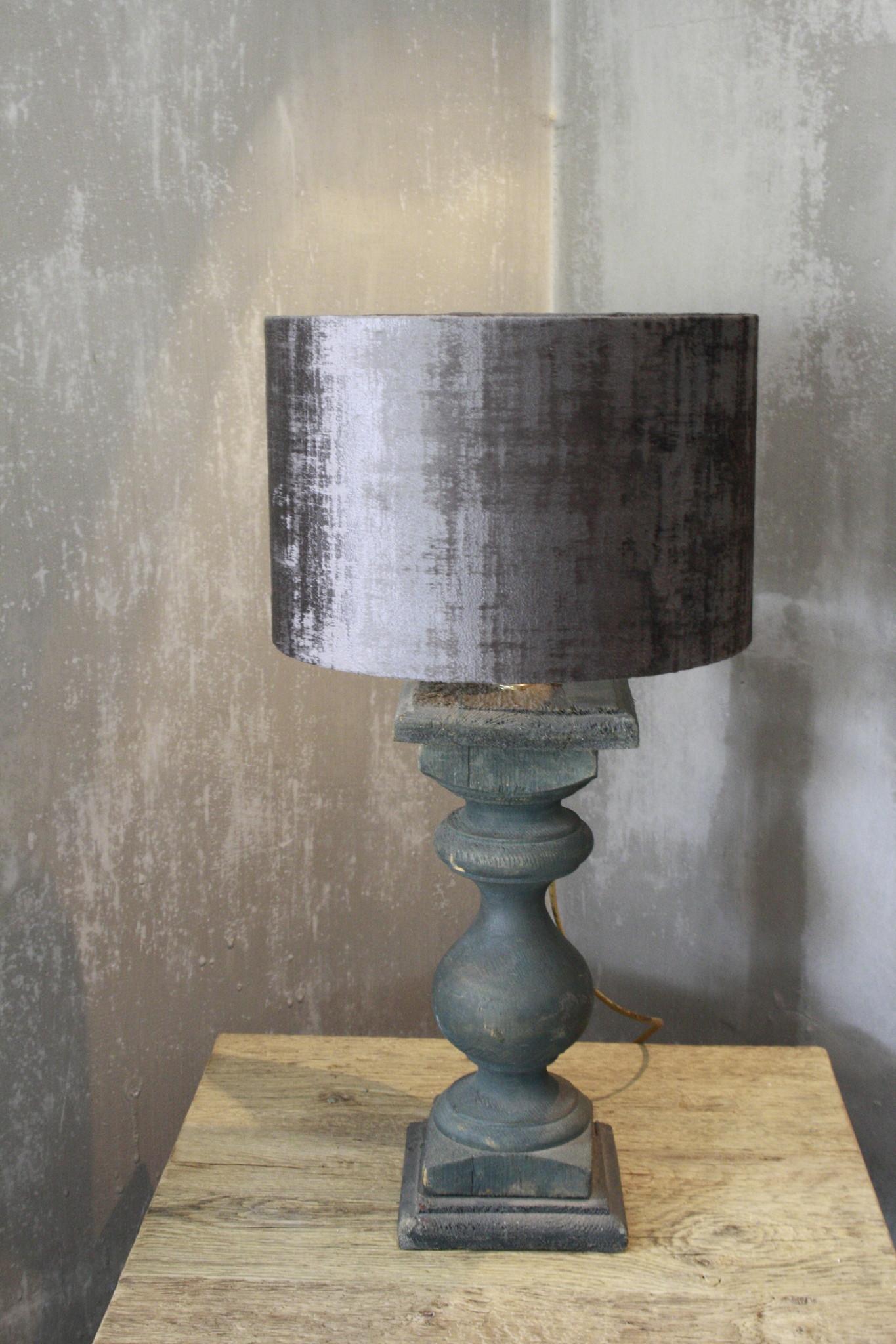 Balusterlamp Oud Hout Groen + kap 60 cm-1