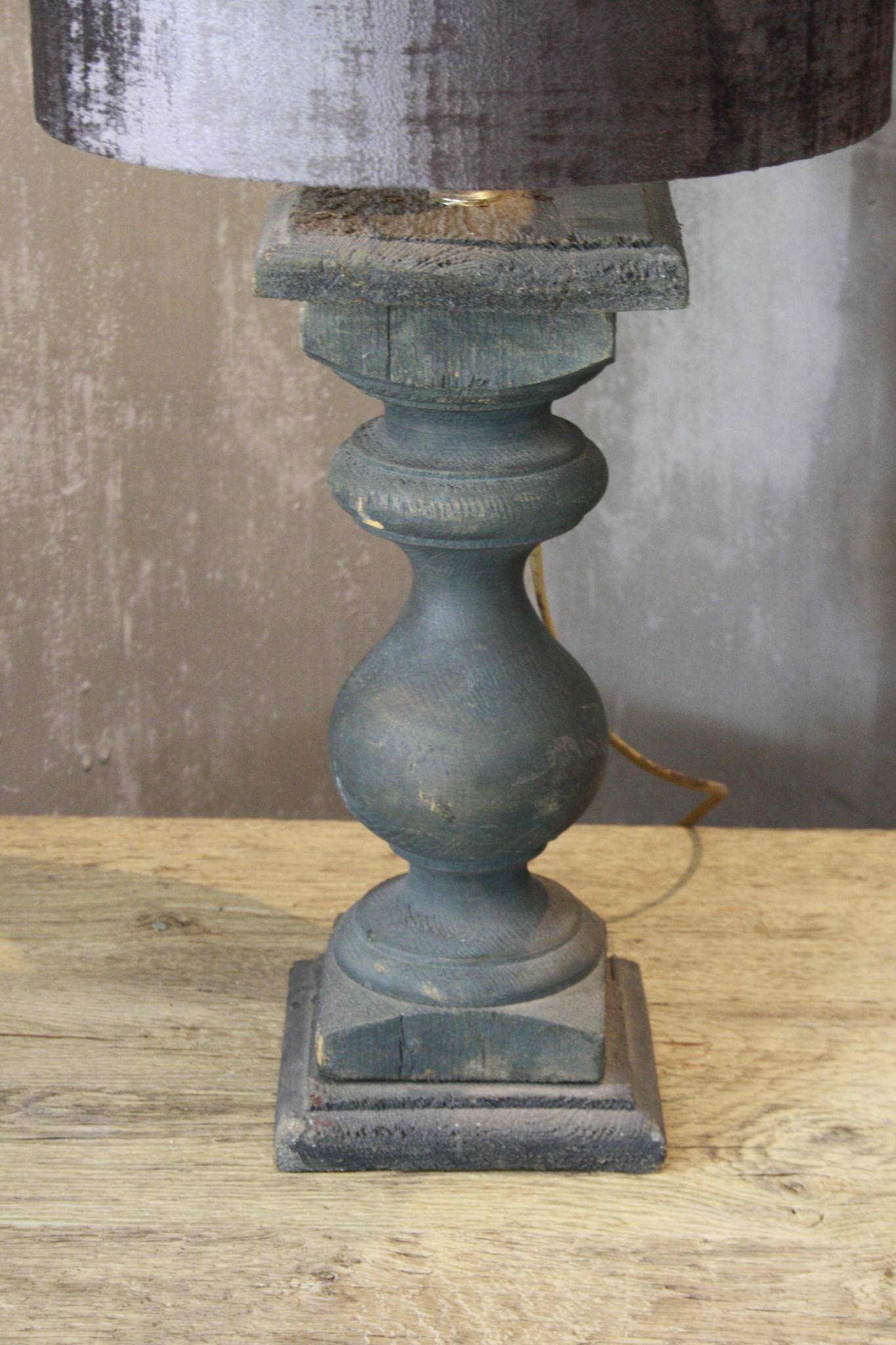 Balusterlamp Oud Hout Groen + kap 60 cm-3