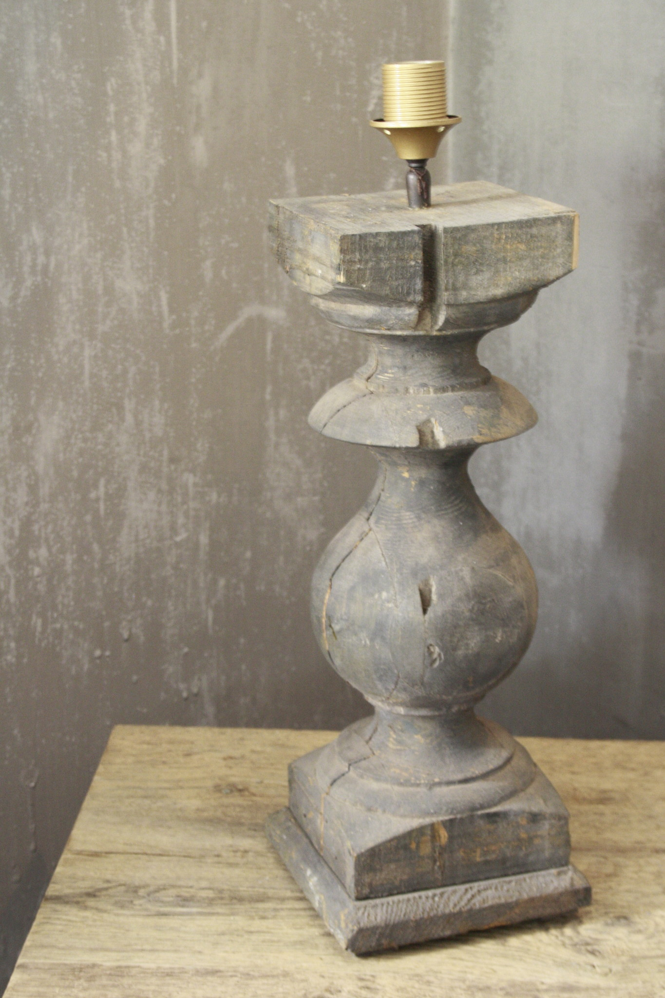 Balusterlamp Oud Hout L65 cm Grijs-2