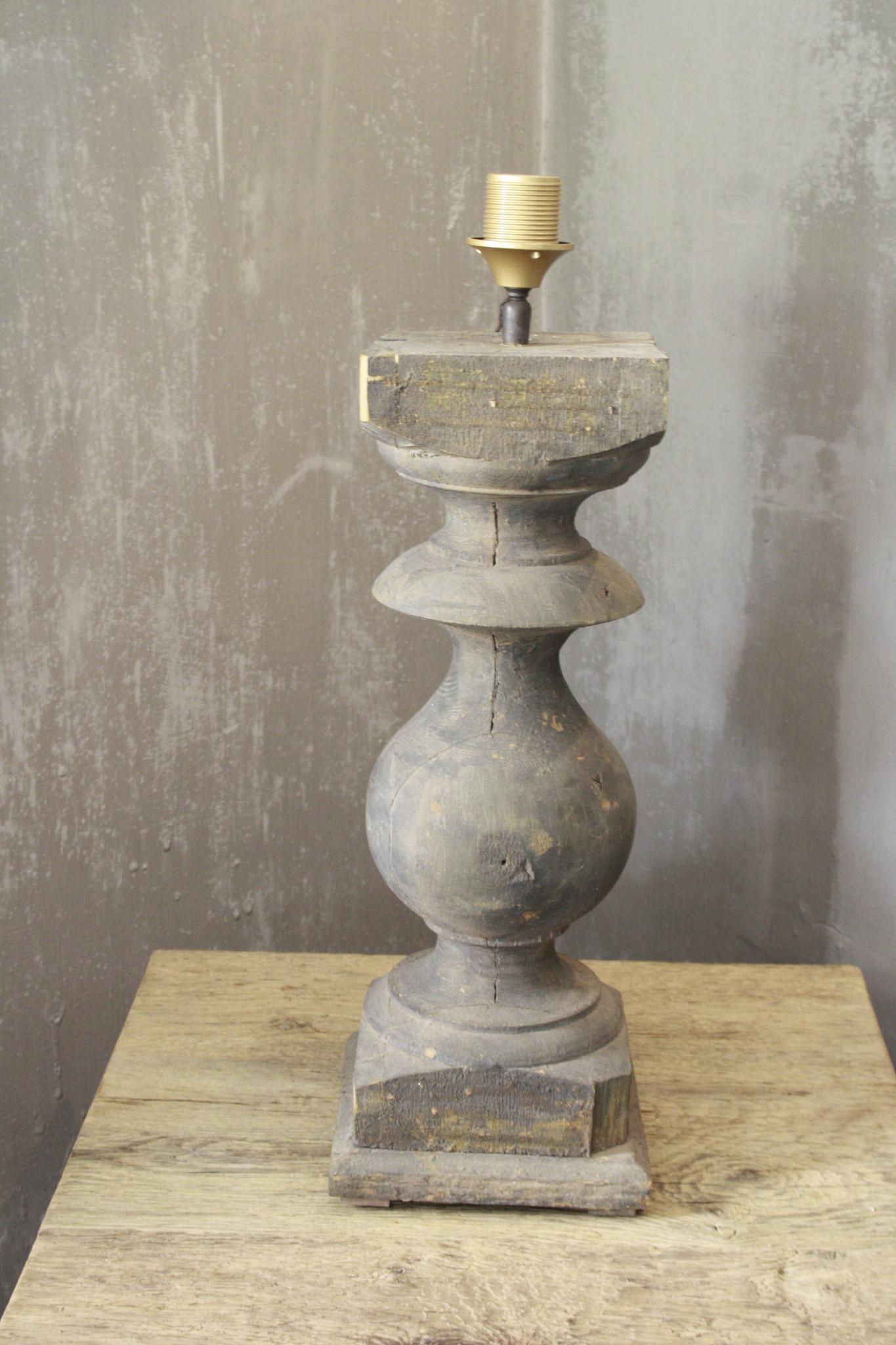 Balusterlamp Oud Hout L65 cm Grijs-1