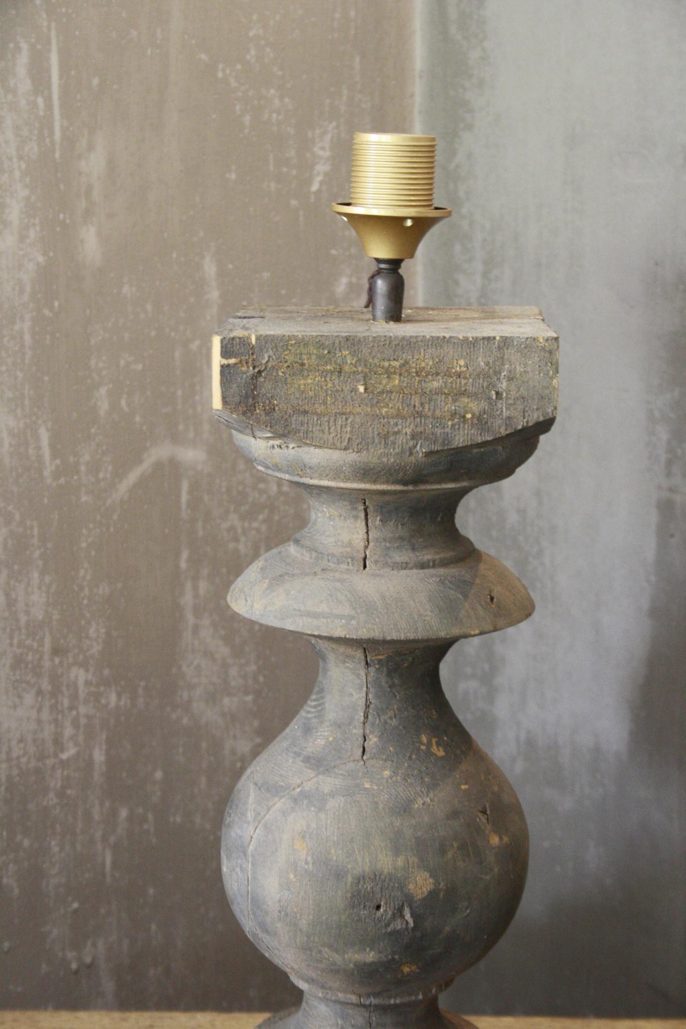 Balusterlamp Oud Hout L65 cm Grijs-4