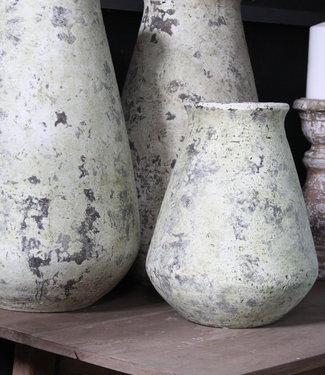 PTMD Stenen Pot Wit/Groen - M - H32 cm
