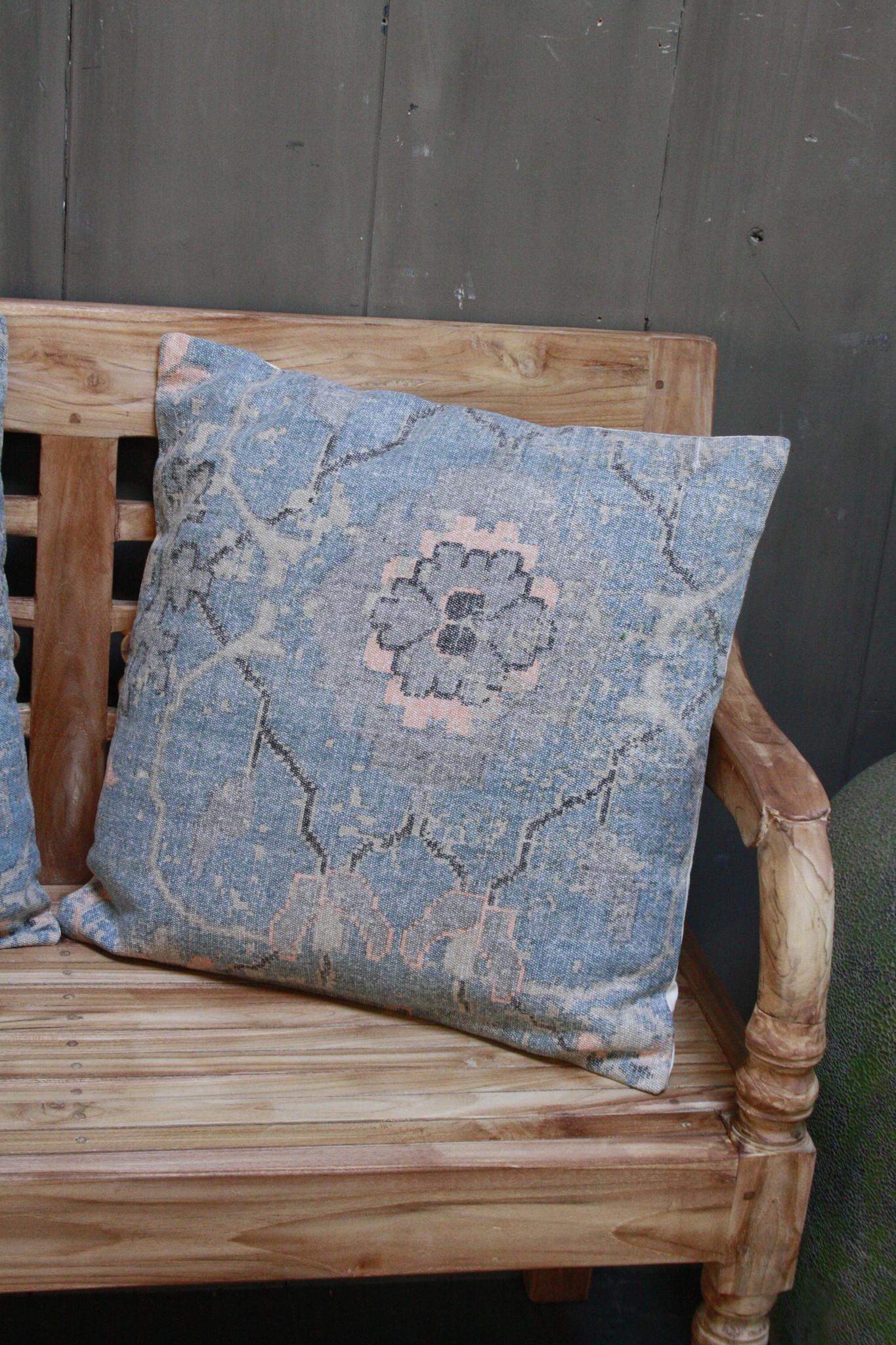Kussen Oud Blauw Bloem 50x50 cm-1