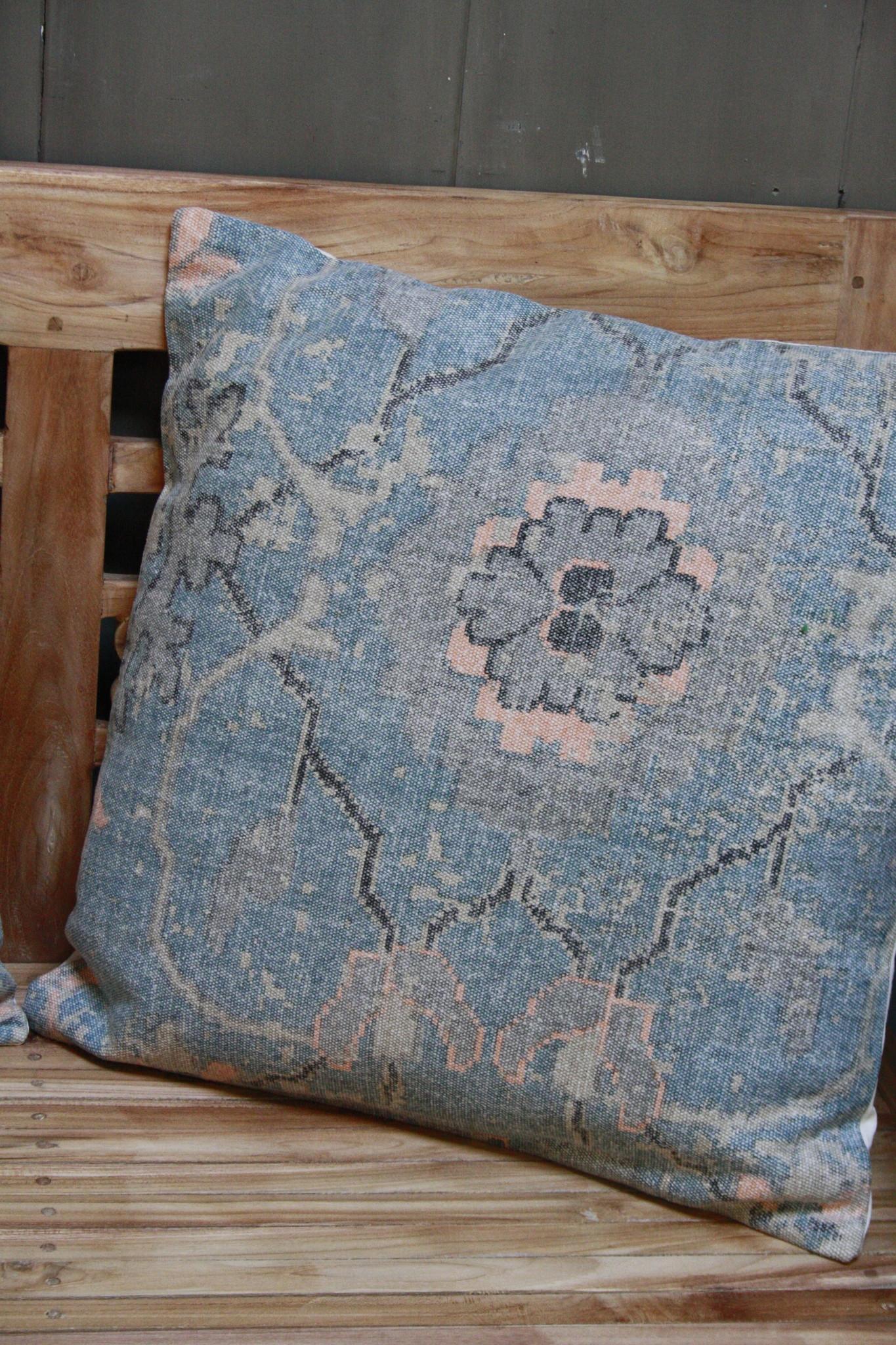 Kussen Oud Blauw Bloem 50x50 cm-2