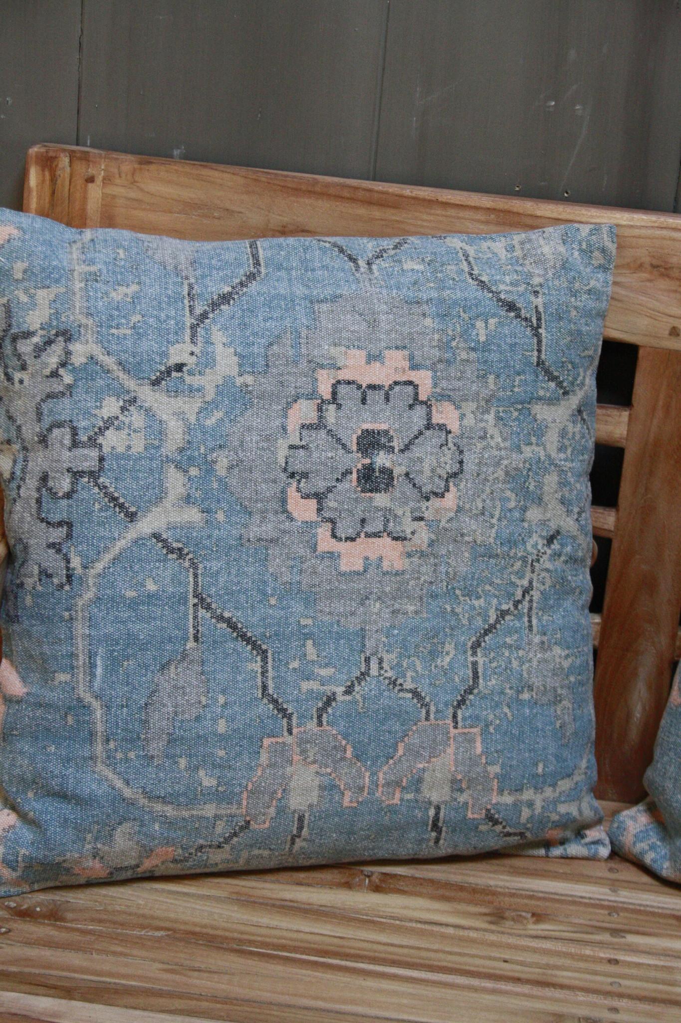 Kussen Oud Blauw Bloem 50x50 cm-4