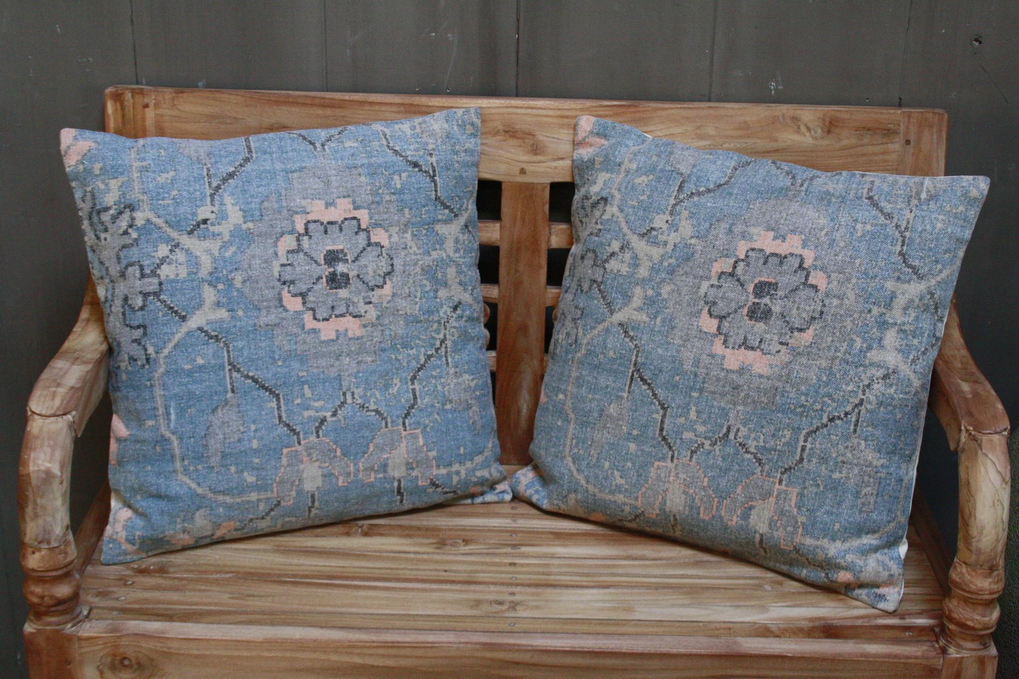 Kussen Oud Blauw Bloem 50x50 cm-6