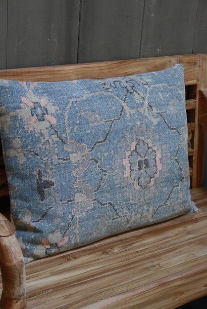 Kussen Oud Blauw Bloem 50x70 cm