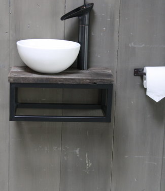 Rene Houtman Boris fonteinmeubelset wit incl. hoge kraan zwart