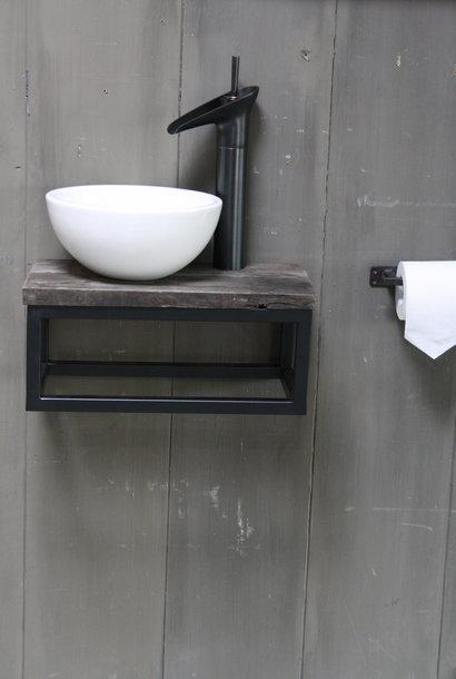 Boris fonteinmeubelset wit incl. hoge kraan zwart