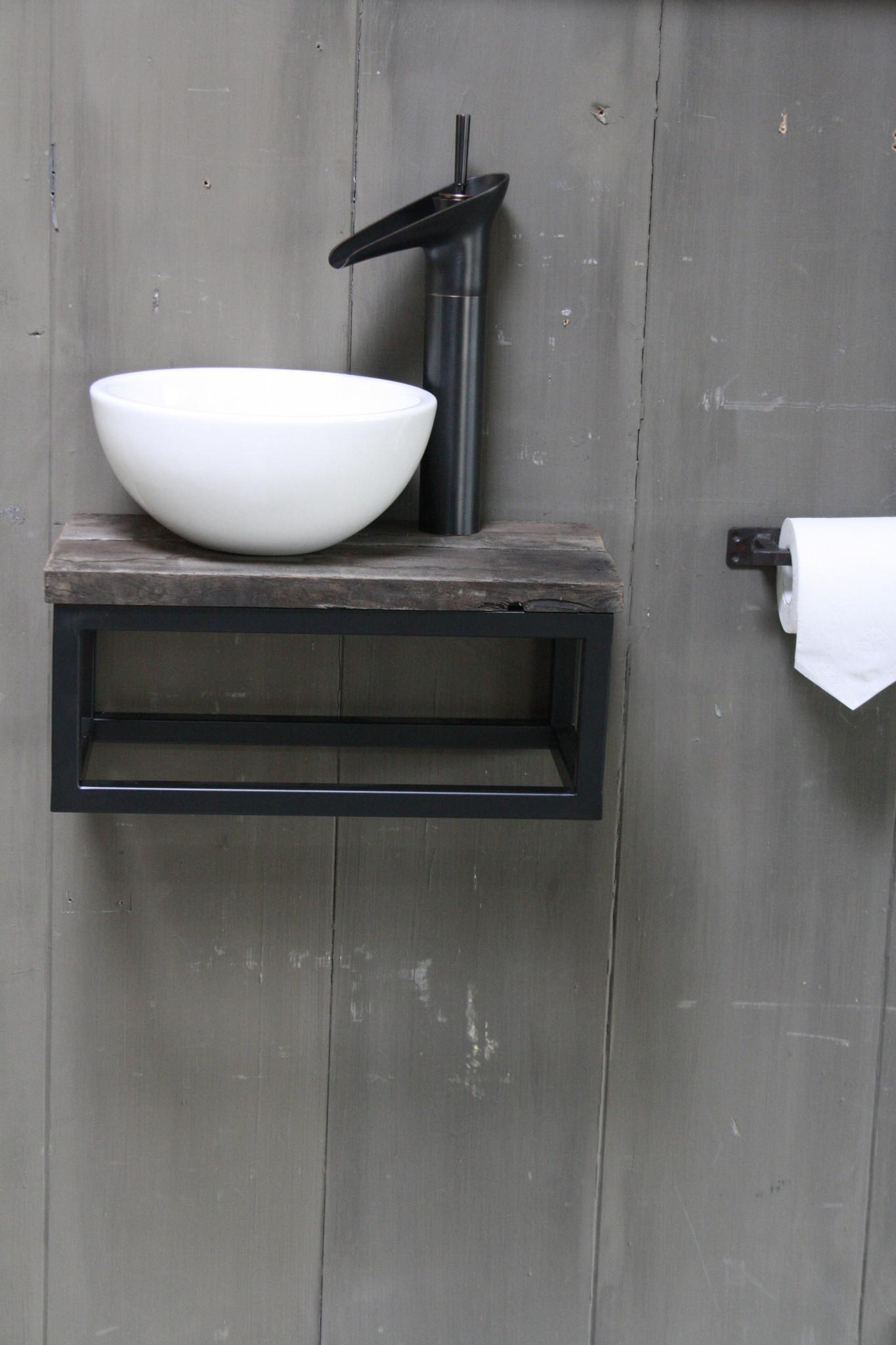 Boris fonteinmeubelset wit incl. hoge kraan zwart-1