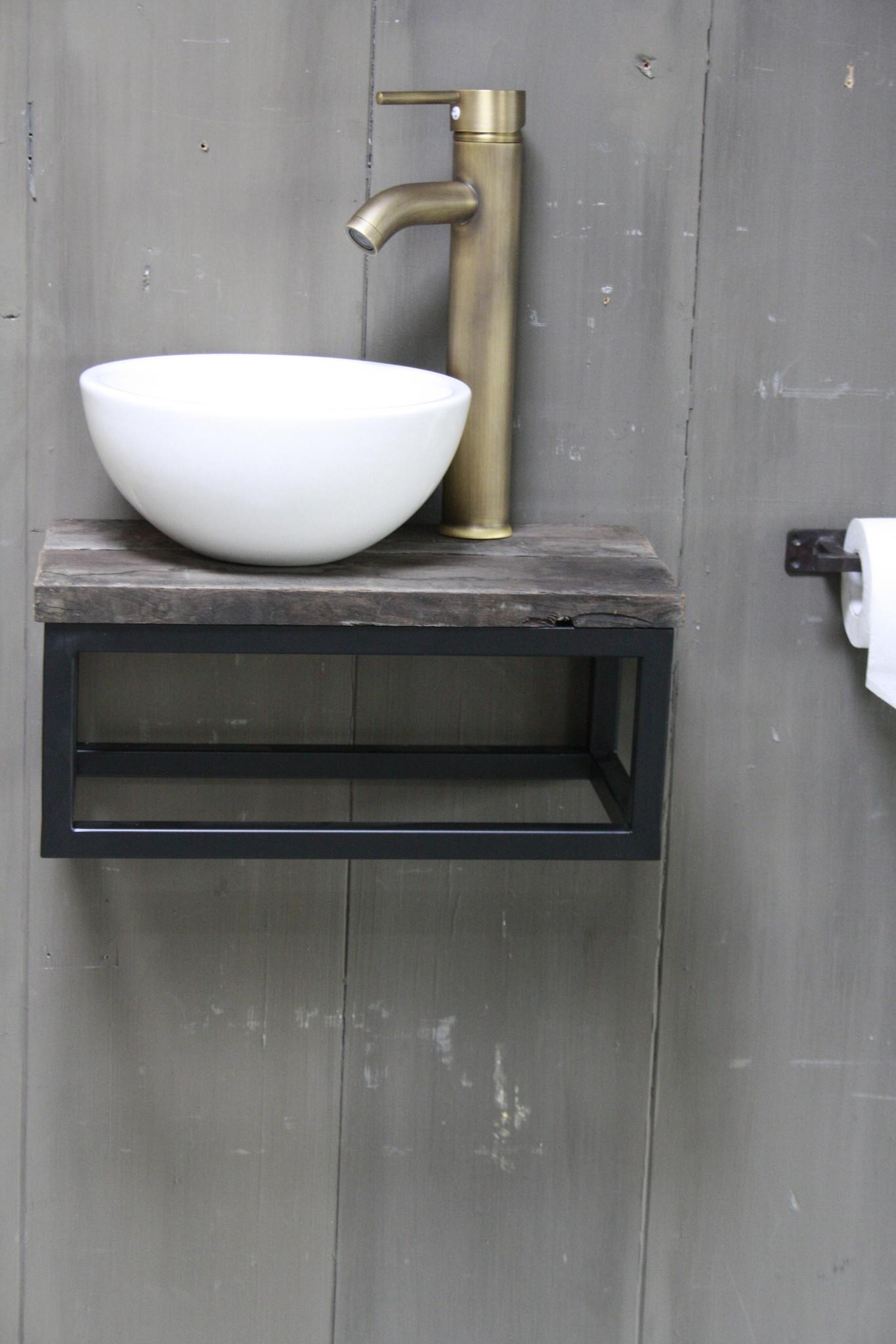 Boris fonteinmeubelset wit incl. hoge kraan brons-1