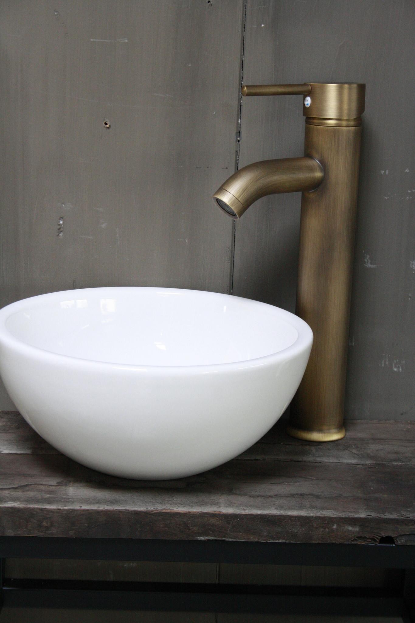 Boris fonteinmeubelset wit incl. hoge kraan brons-2