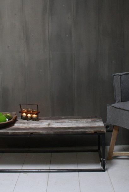 Salontafeltje oud hout met ijzeren onderstel 112 cm - Copy