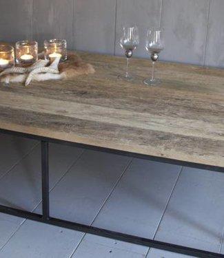 Rene Houtman Salontafel oud eikenhout met ijzeren onderstel 170 cm