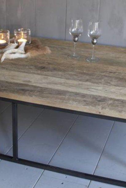 Salontafel oud eikenhout met ijzeren onderstel 170 cm - Copy