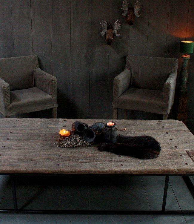 Rene Houtman Oud houten salontafel India oude deur 180x96 cm