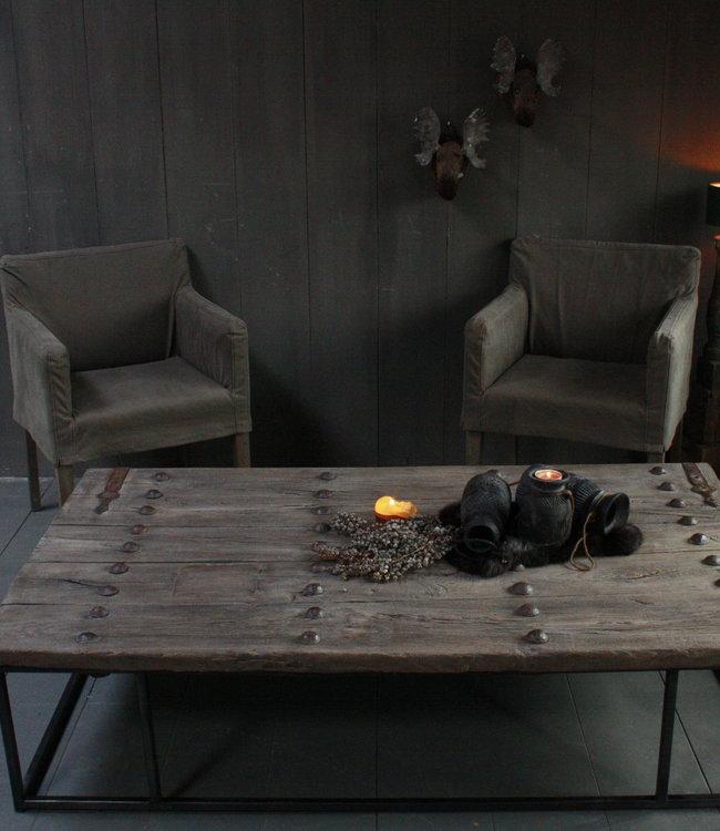 *Verkocht Oud houten salontafel India oude deur 165x96 cm